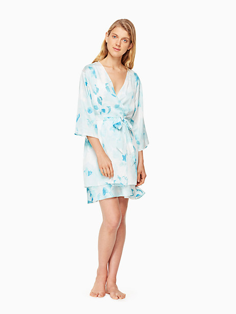 Kate Spade Print Charmeuse Short Robe In Moroccan Rose