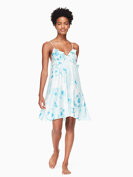 Kate Spade Floral Charmeuse Chemise In Moroccan Rose