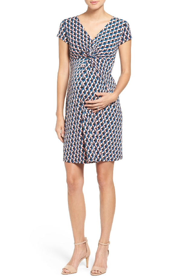Leota Twist Front Maternity Dress In Cubism