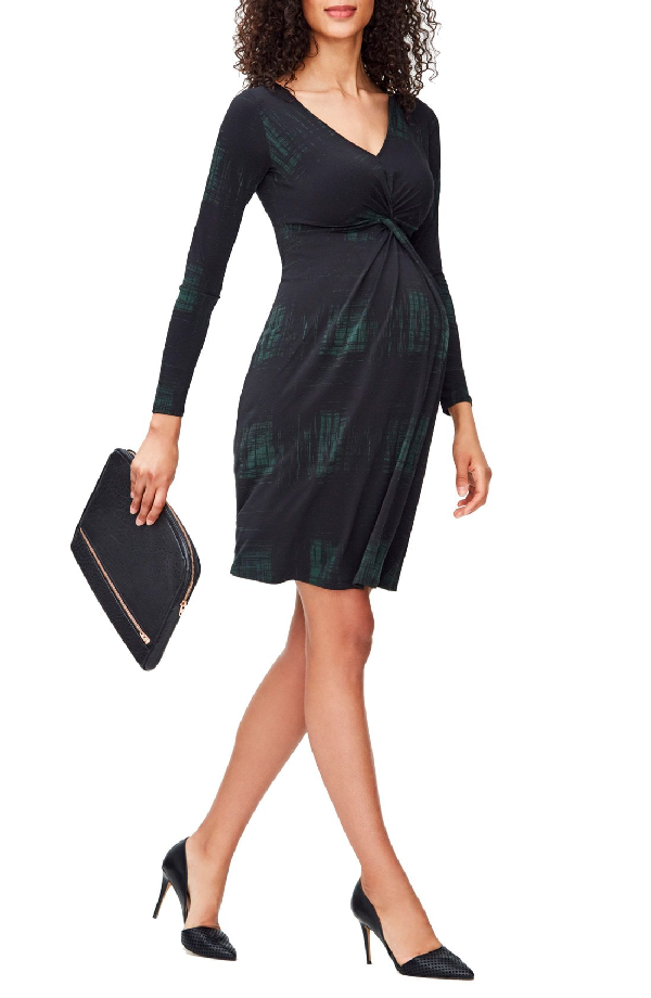 Leota Print Knot Detail Jersey Dress In Rendered Windowpane Hunter