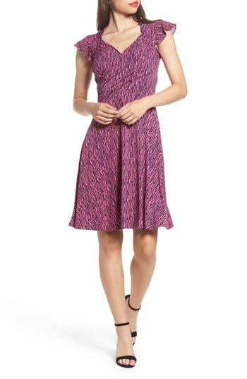 Leota Print Fit & Flare Dress In Diamond Line