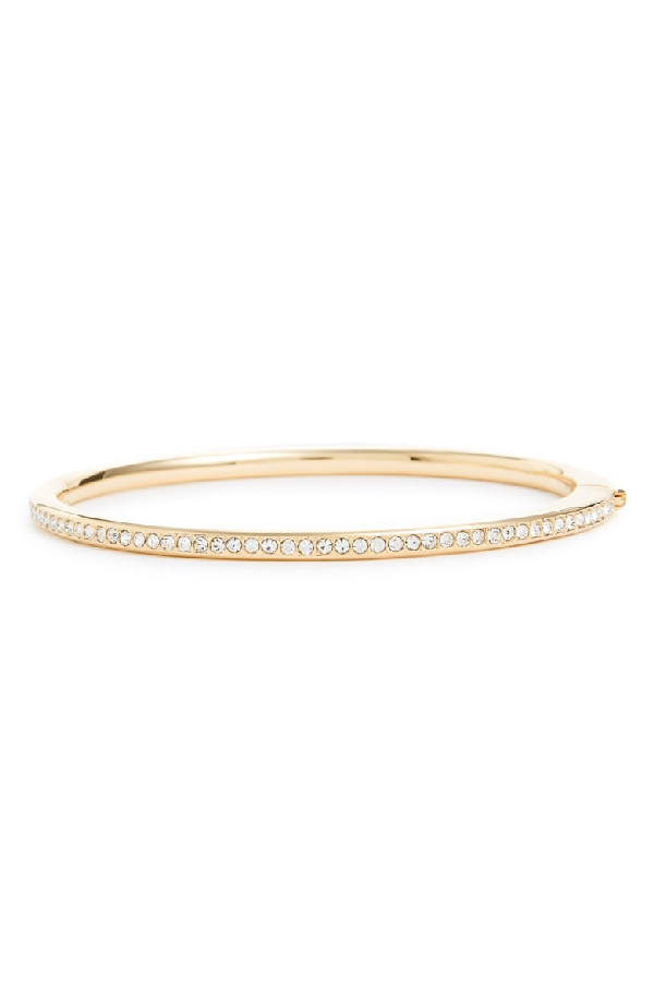Nadri Channel Set Crystal Hinged Bangle In Gold/ Clear Crystal