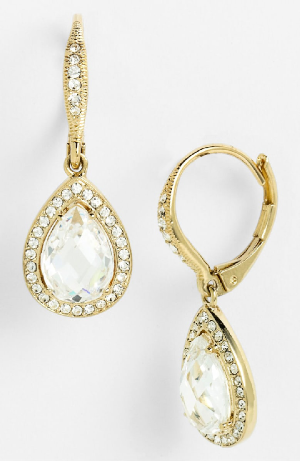 Nadri Pear Drop Earrings (nordstrom Exclusive) In Gold/ Clear