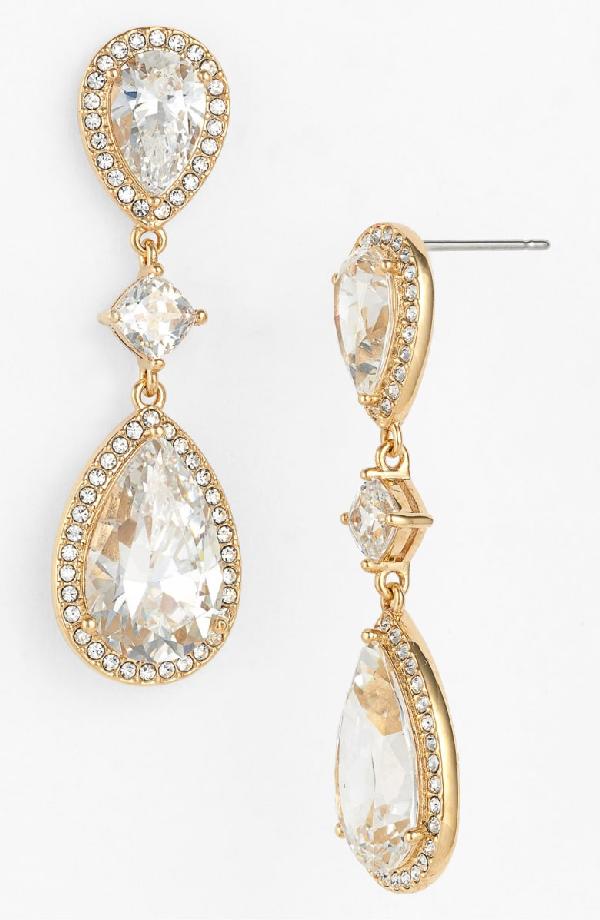 Nadri Cubic Zirconia Drop Earrings In Gold