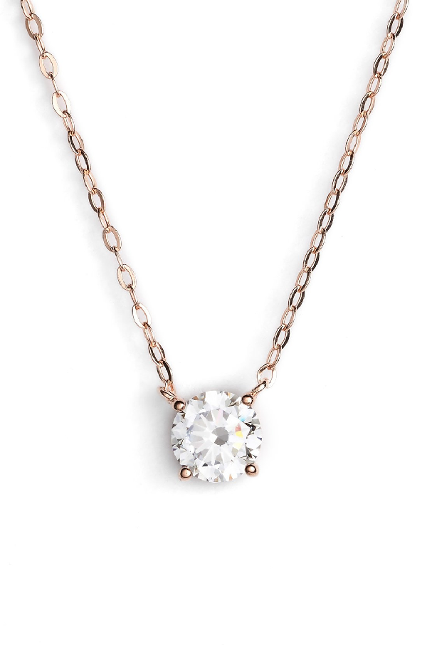 Nadri Cubic Zirconia Pendant Necklace In Rose Gold