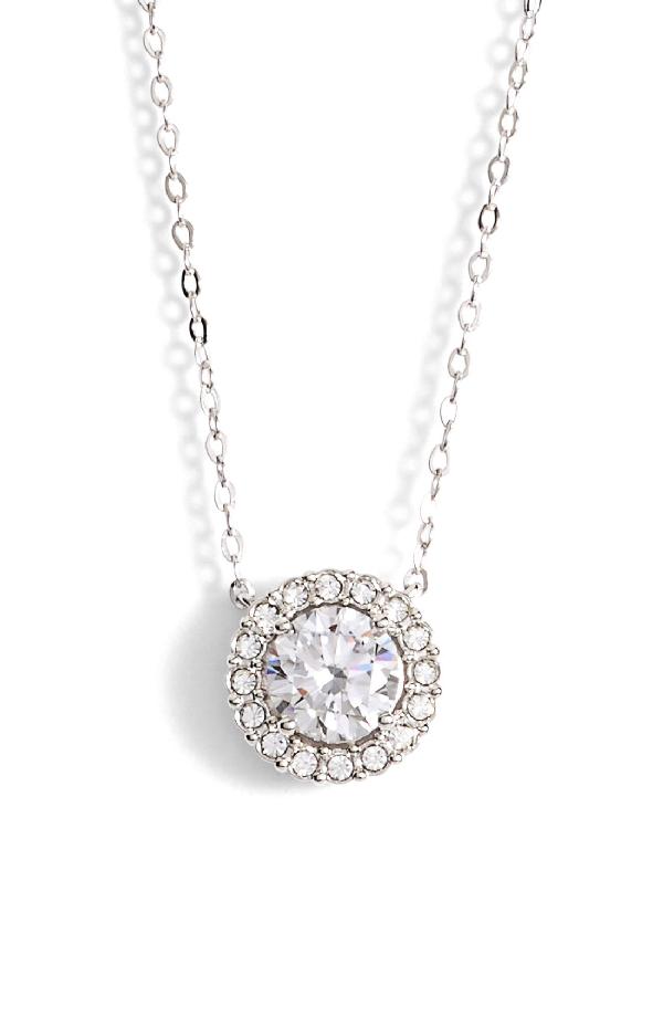 Nadri Halo Pendant Necklace In Silver