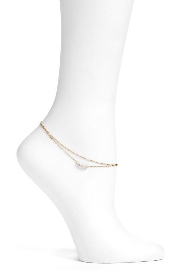 Nadri Salome Cubic Zirconia Double Chain Anklet In Gold