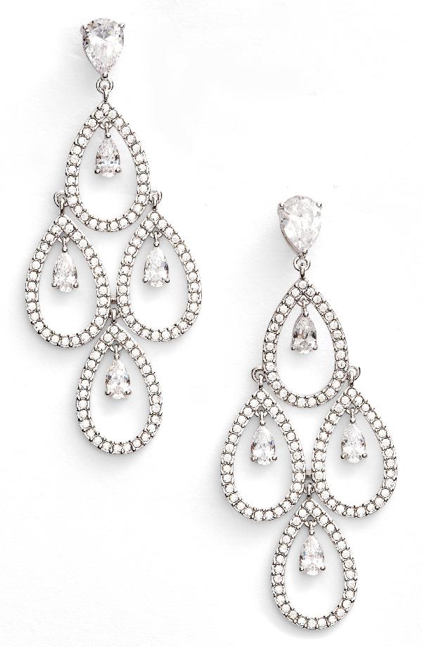Nadri Crystal Chandelier Earrings In Silver
