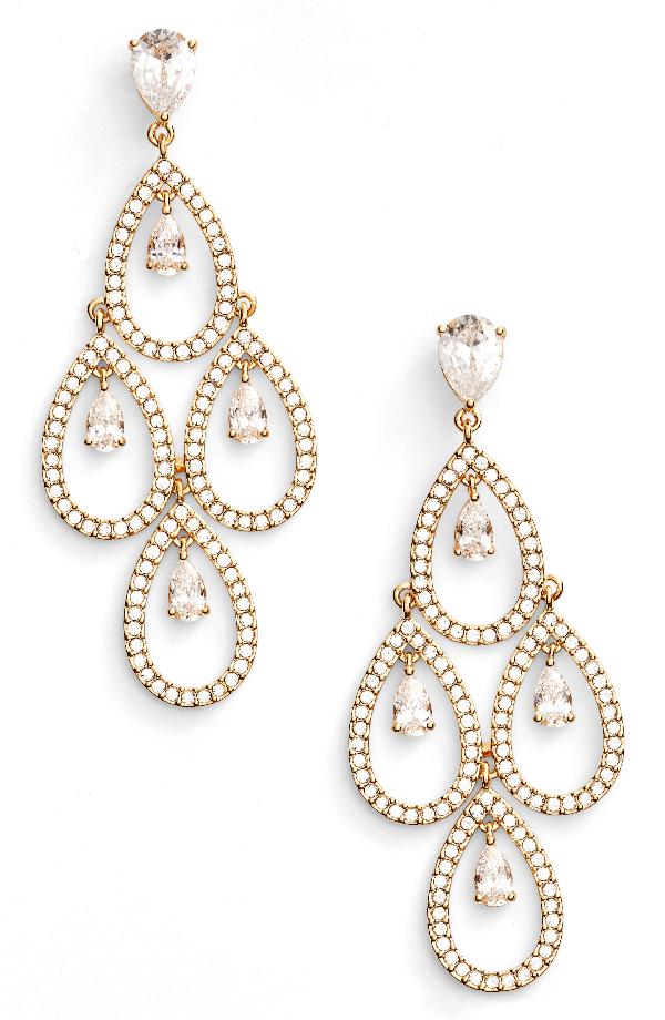 Nadri Crystal Chandelier Earrings In Gold