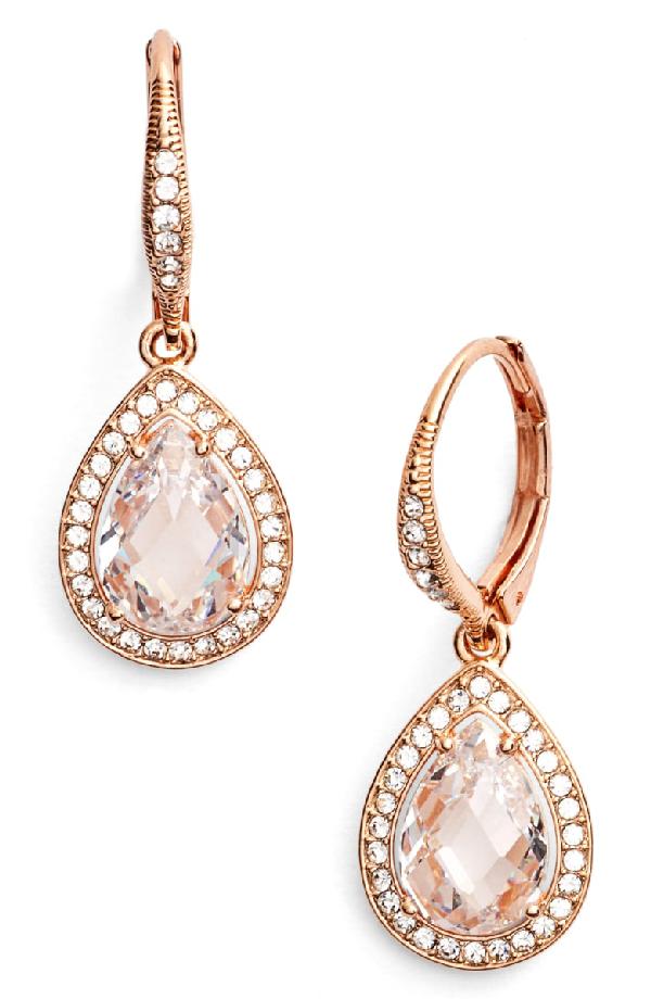 Nadri Pear Drop Earrings (nordstrom Exclusive) In Rose Gold