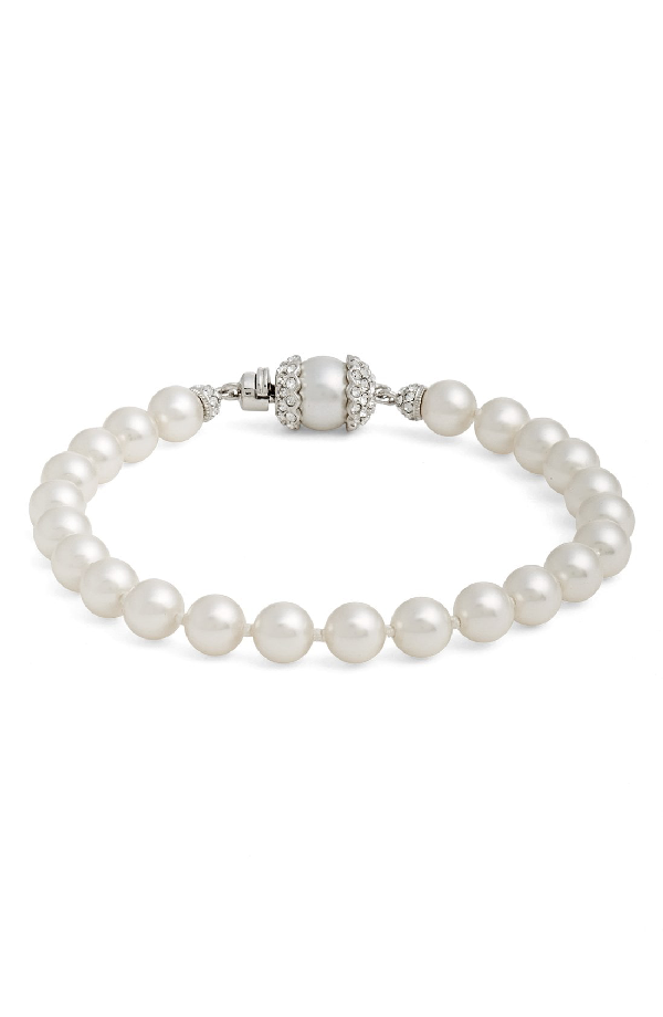 Nadri Imitation Pearl Bracelet In Rhodium