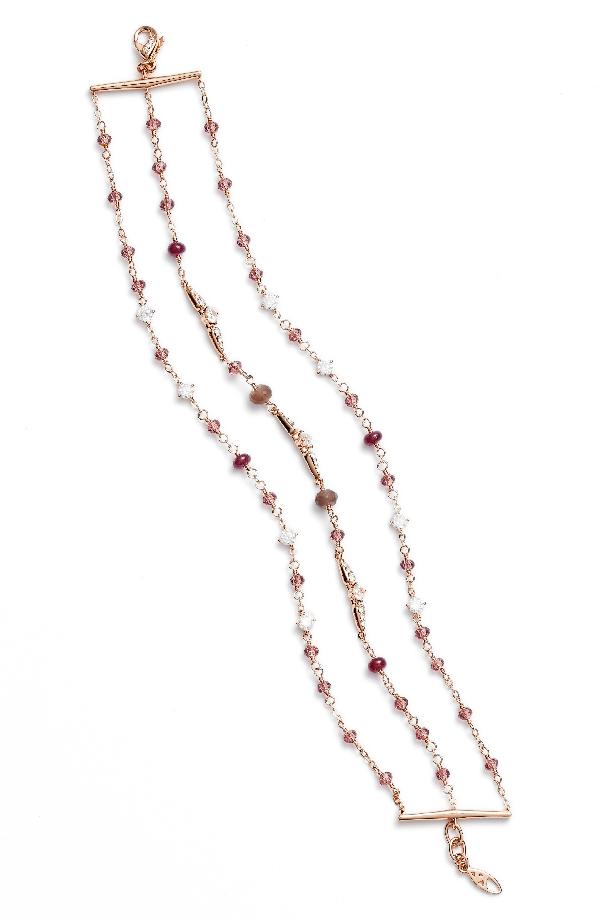 Nadri Multistrand Crystal & Stone Bracelet In Ruby/ Choco/ Pink
