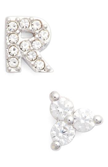 Nadri Initial Mismatched Stud Earrings In Silver