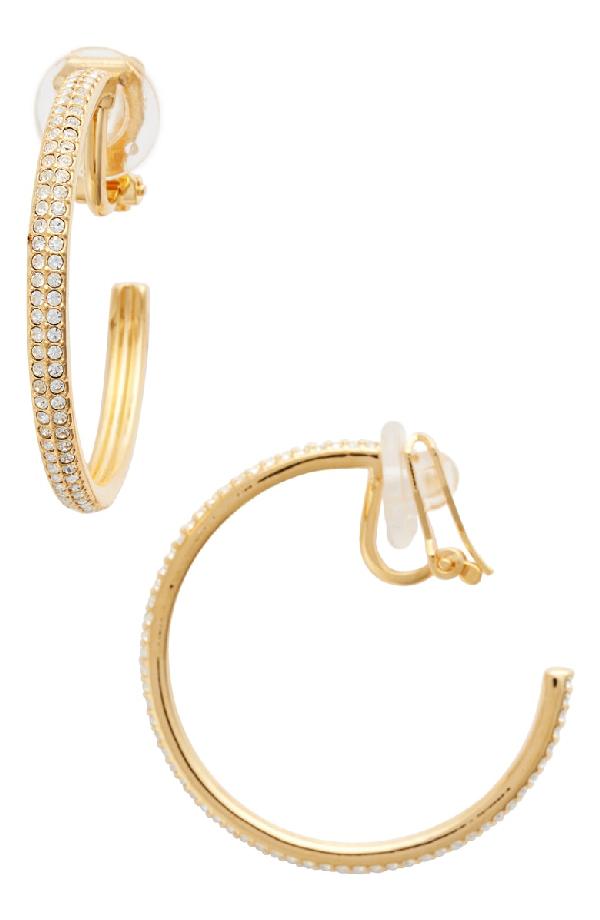 Nadri Clip-on Hoop Earrings In Gold