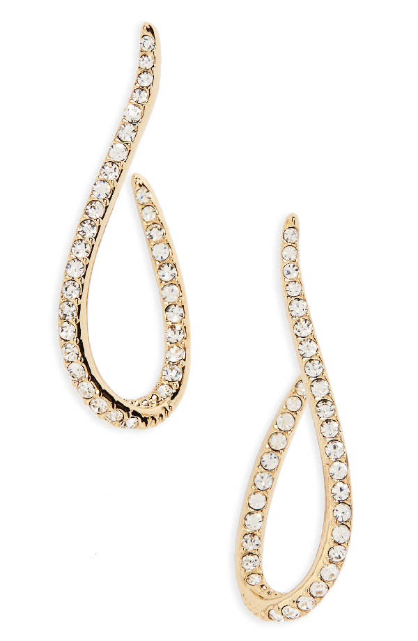 Nadri Citron J Hoop Crystal Drop Earrings In Gold