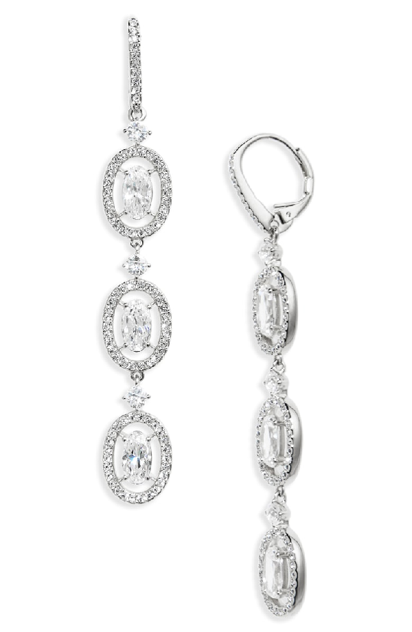 Nadri Oval Halo Drop Earrings In Silver
