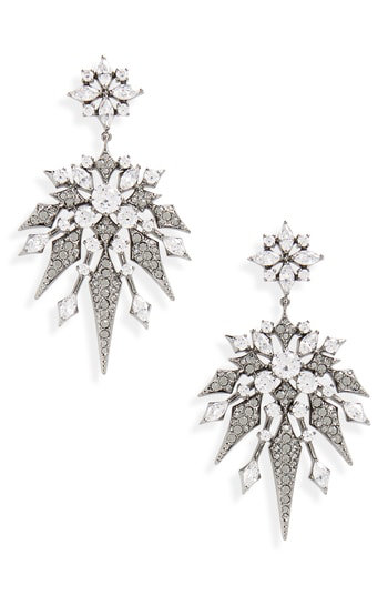 Nadri Noel Long Crystal Drop Earrings In Black