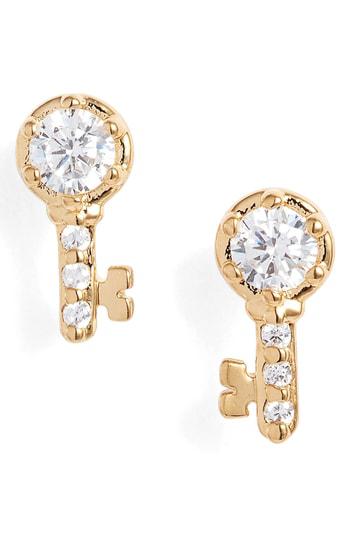 Nadri Reminisce Cubic Zirconia Key Stud Earrings In Gold