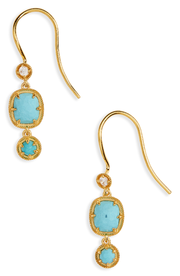 Nadri Cleo Semiprecious Drop Earrings In Turquoise/ Gold