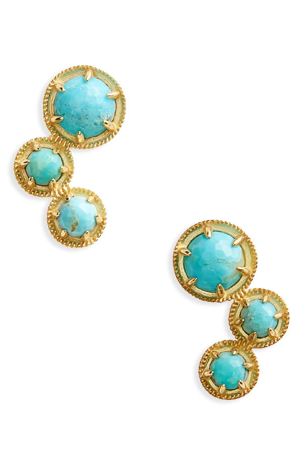 Nadri Cleo Doublet Ear Crawlers In Turquoise/ Gold