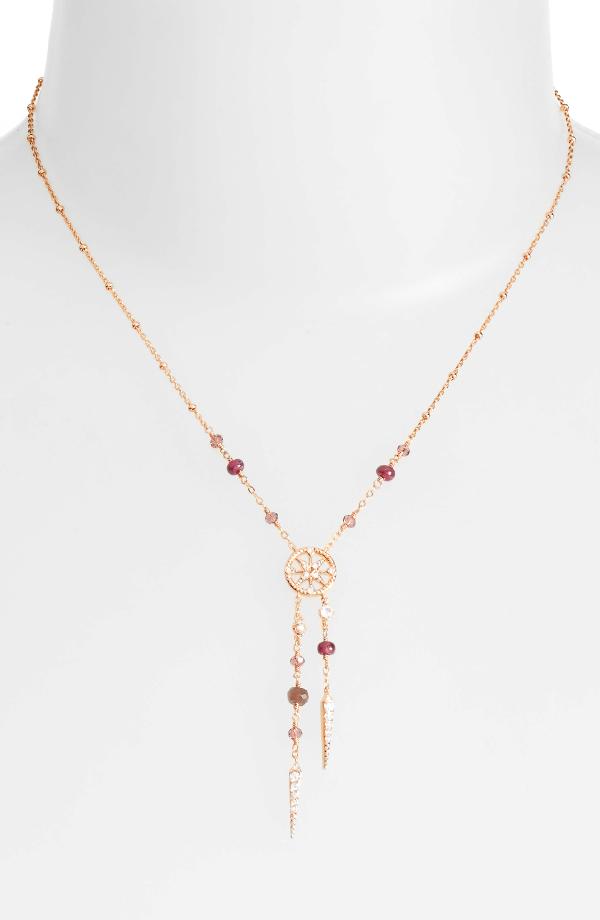 Nadri Crystal & Semiprecious Stone Y-necklace In Ruby/ Choco/ Pink