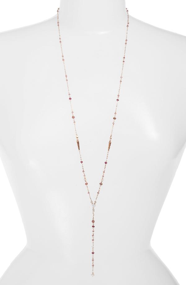 Nadri Crystal & Stone Y-necklace In Ruby/ Choco/ Pink