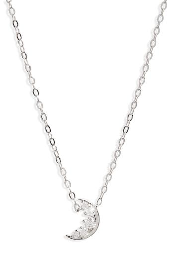 Nadri Reminisce Moon Pendant Necklace In Rhodium