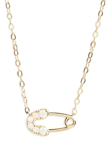 Nadri Reminisce Crystal Safety Pin Pendant Necklace In Gold