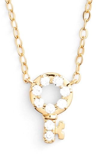 Nadri Reminisce Crystal Key Pendant Necklace In Gold