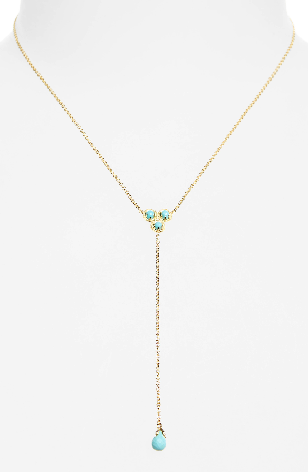 Nadri Cleo Semiprecious Stone Necklace In Turquoise/ Gold