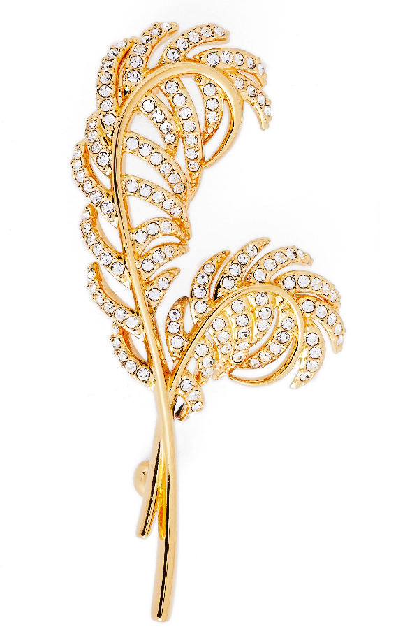 Nadri Pave Double Feather Pin In Gold