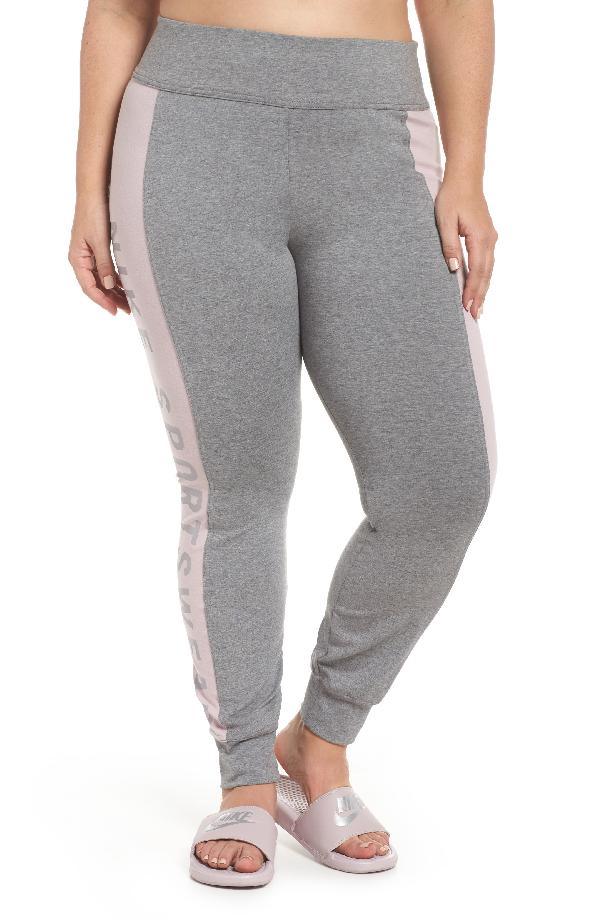 Nike Sportswear Essential Logo Leggings In Carbon Heather/particle Rose