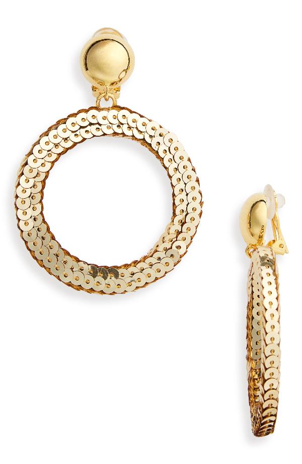Oscar De La Renta Sequin Drop Earrings In Gold