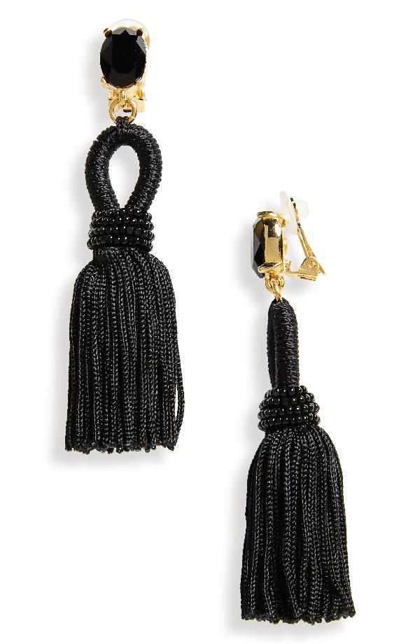Oscar De La Renta Silk Tassel Drop Earrings In Black
