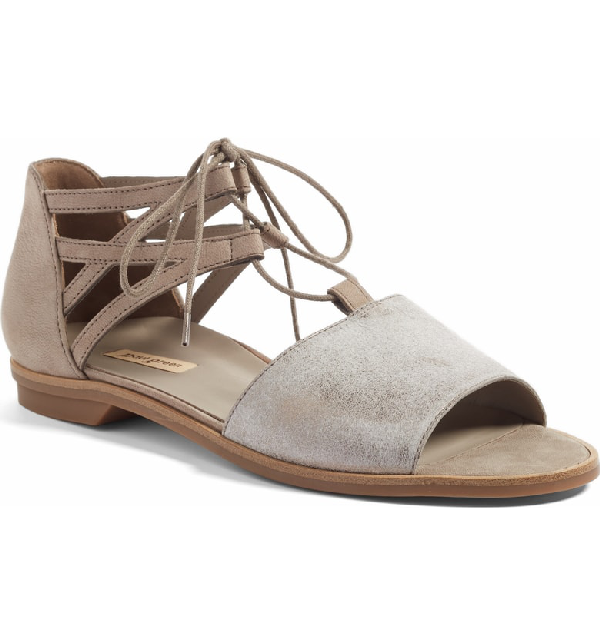 Paul Green Morea Lace-up Sandal In Smoke/ Truffle Leather