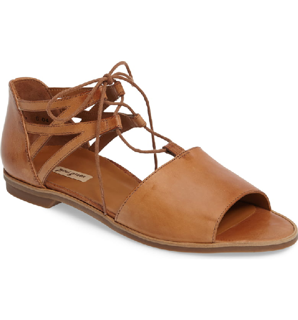 Paul Green Morea Lace-up Sandal In Cuoio Leather
