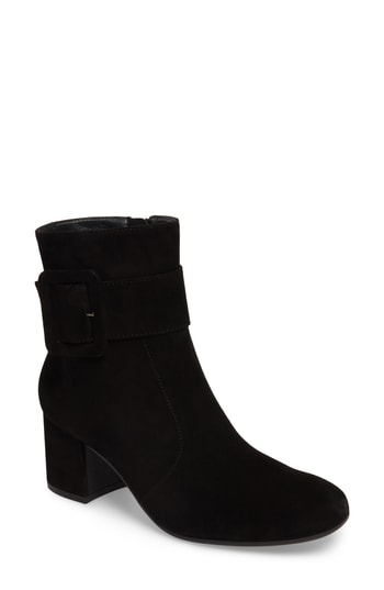 Paul Green Natalia Buckle Boot In Iron Suede