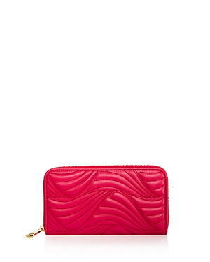 Salvatore Ferragamo Zip Wave Quilted Leather Wallet In Begonia Pink/gold
