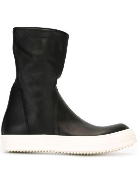 Rick Owens Black Basket Creeper High-top Sneakers In Black Leather