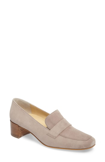 Paul Green Oscar Block Heel Loafer In Taupe Suede