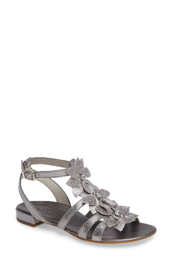 Paul Green Norien Embellished Flower Sandal In Silver Vintage Leather