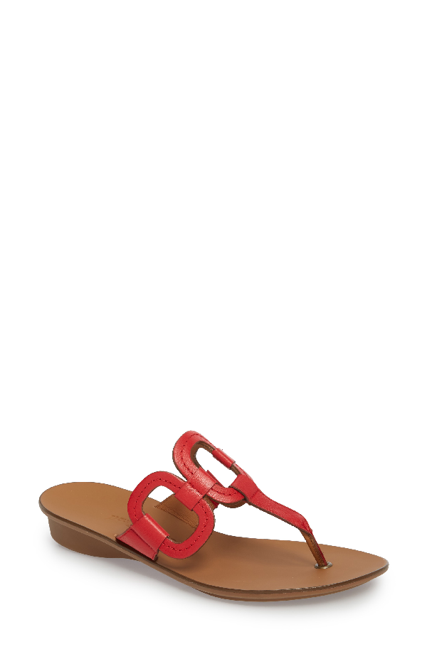 Paul Green Lanai Flip-flop In Red Leather