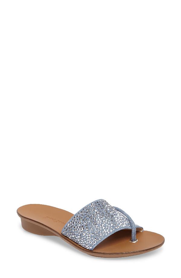 Paul Green Women's Pixie Embellished Denim Slide Sandals In Denim Suede