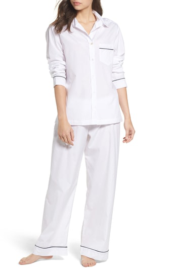 Pour Les Femmes Piped Pajamas In White With Navy Piping