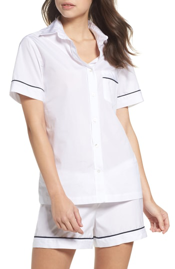 Pour Les Femmes Piped Sleep Shirt In White With Navy Pin Stripe