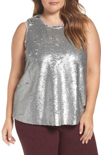 Rachel Rachel Roy Sequin Top In Silver
