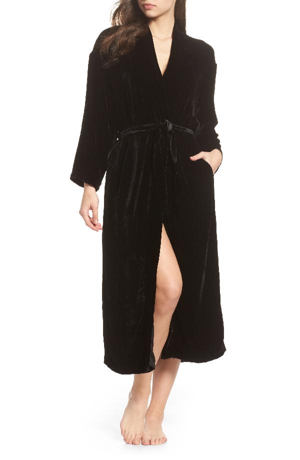 Ragdoll Long Velvet Robe In Black