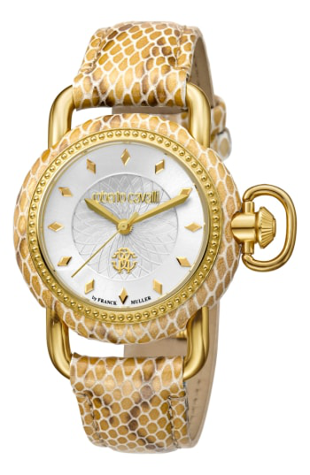 Roberto Cavalli By Franck Muller Snake Leather Strap Watch, 36mm In Beige/ Silver Guilloche/ Gold