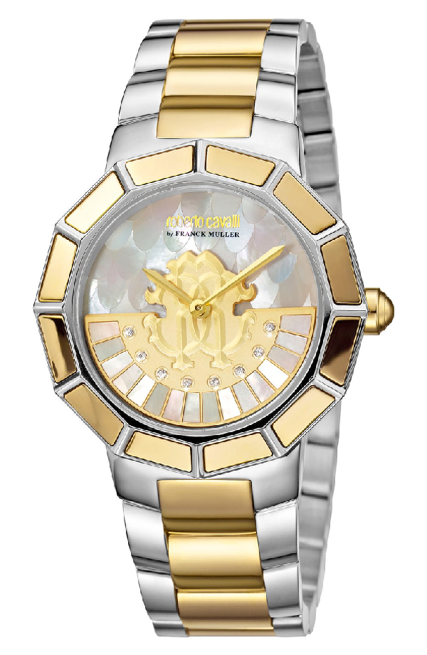 Roberto Cavalli By Franck Muller Rotating Dial Bracelet Watch, 37mm In Silver/ White Mop/ Gold