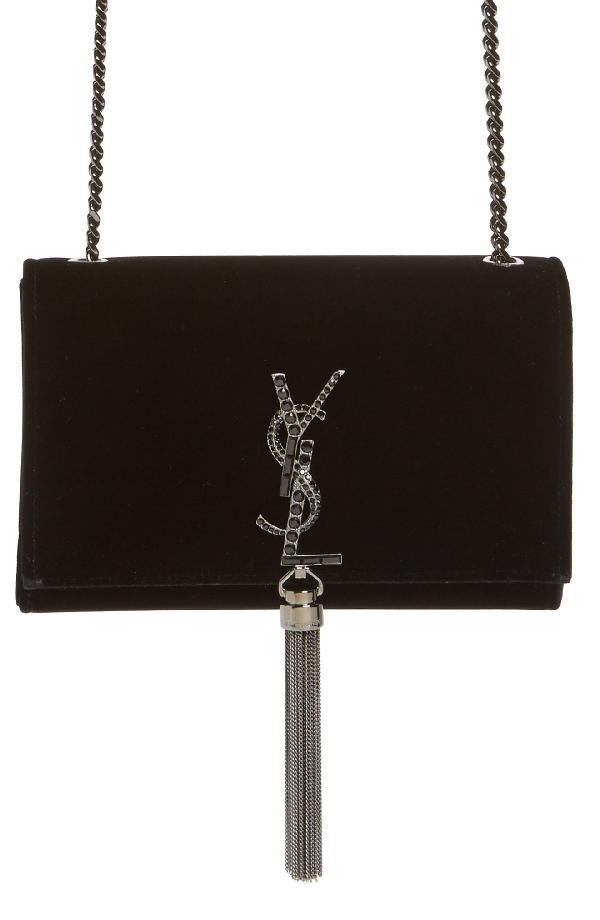 Saint Laurent Small Kate Velvet Crossbody Bag - Black In Noir